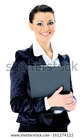 Beautiful businesswoman holds a work plan. Isolated on a white background. - stock photo