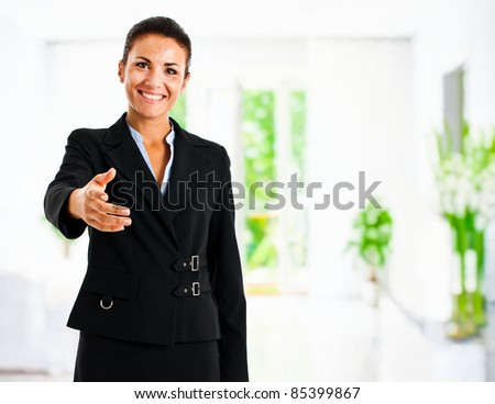 Beautiful businesswoman introducing herself