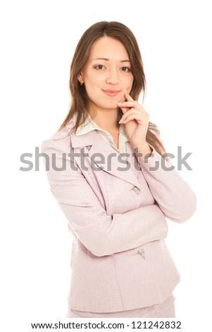 Beautiful businesswoman isolated on white - stock photo