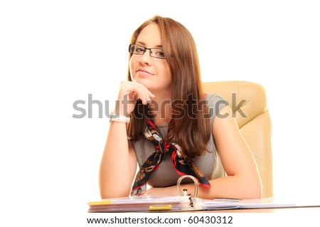 Beautiful businesswoman isolated over white - stock photo