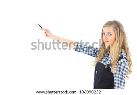 Beautiful businesswoman keeps the laptop. Isolated on a white background. - stock photo