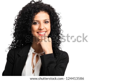 Beautiful businesswoman portrait isolated on white - stock photo