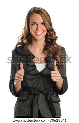 Beautiful businesswoman showing thumbs up isolated over white background