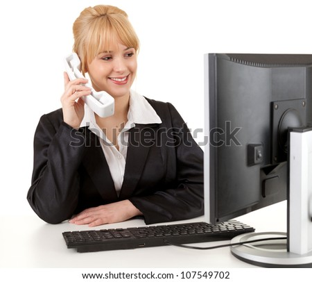 beautiful businesswoman using phone and computer, white background