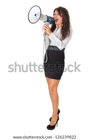 Beautiful businesswoman with a megaphone over a white background