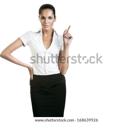 beautiful businesswoman with finger up on white background - stock photo