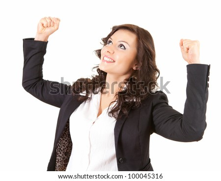 beautiful businesswoman with raised fists, white background