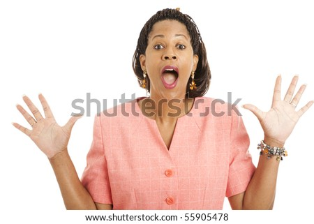 Beautiful businesswoman with surprised expression.  Isolated on white. - stock photo