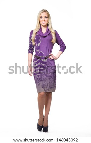 Beautiful Busyness Woman Blonde Fashion Model in autumn clothes isolated on white