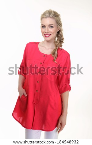 Beautiful Busyness Woman Blonde Fashion Model in red blouse isolated on white
