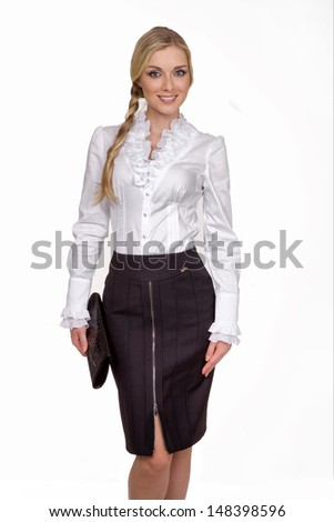 Beautiful Busyness Woman Blonde Fashion Model in white blouse isolated on white