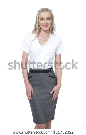 Beautiful Busyness Woman Blonde Fashion Model  isolated on white - stock photo