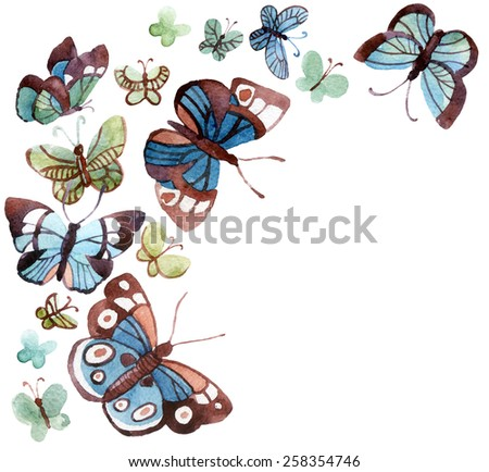 Beautiful butterflies on white background, watercolor illustration - stock photo