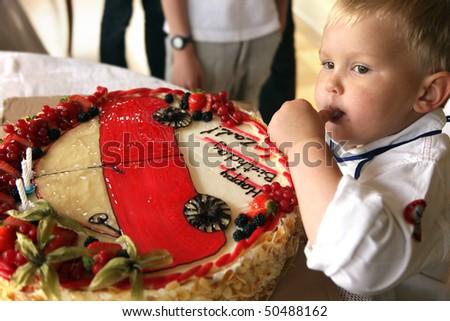 beautiful cake on birthday for wonderful baby - stock photo