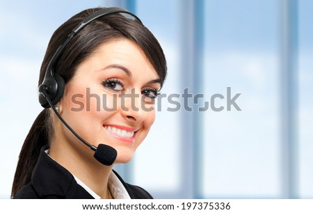 Beautiful call center operator portrait - stock photo
