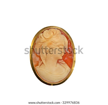 Beautiful Cameo Pin on a white background - stock photo