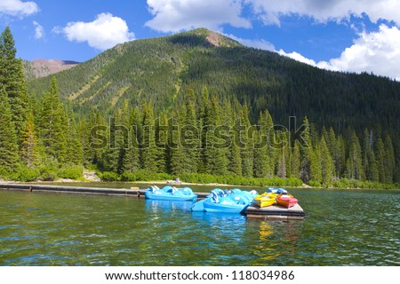Beautiful Cameron Lake in Waterton Lakes National Park in Canada - stock photo