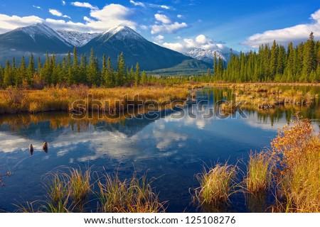 Beautiful Canadian Landscape, Jasper National Park, Alberta, Canada - stock photo