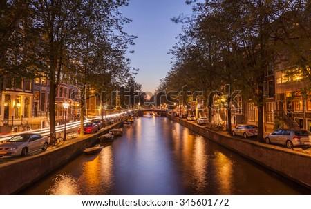 Beautiful canal at twilight - stock photo
