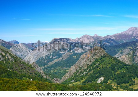 Beautiful Cantabrian mountain landscape, Spain. - stock photo