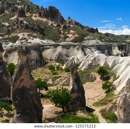 Beautiful Cappadocia mountains landscape, Turkey. - stock photo