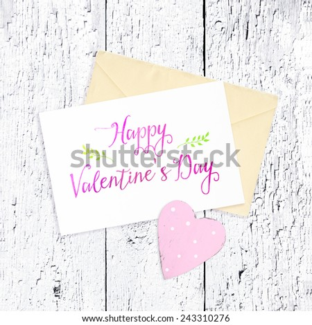 Beautiful card for congratulation with heart - stock photo