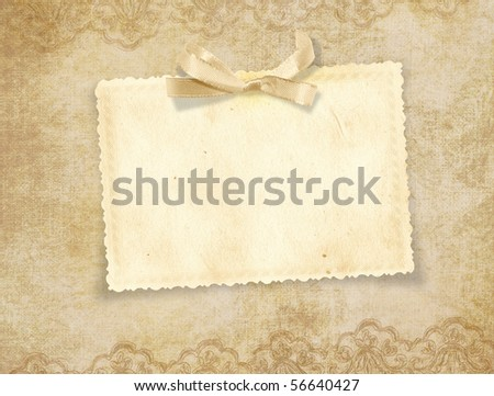 Beautiful card for congratulations  or invitation on the vintage background - stock photo