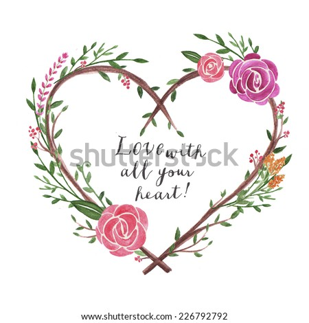 Beautiful Card Hand Drawn Watercolor Flowers Stock Illustration ...