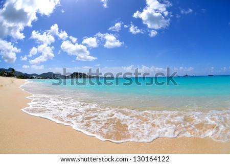 Beautiful Caribbean Beach During the Summertime - stock photo