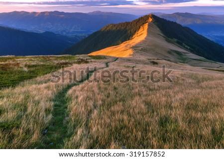 Beautiful Carpathian mountains in autumn time. Pishkonia range, Ukraine, Europe. - stock photo