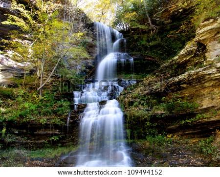 Beautiful Cascade water falls in West Virginia - stock photo
