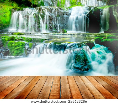 Beautiful Cascading Waterfall Nature New Zealand Concept - stock photo