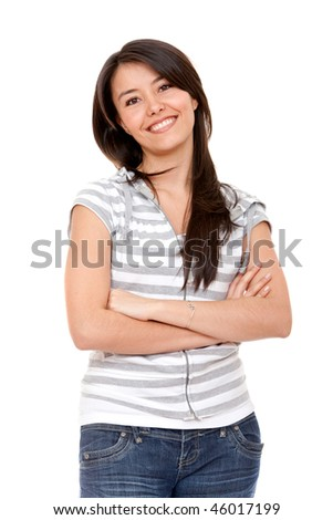 Beautiful casual girl isolated over a white background