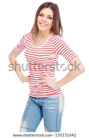 Beautiful casual lady isolated on white background