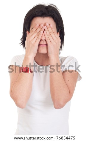 beautiful casual woman in see no evil pose (isolated on white background) - stock photo