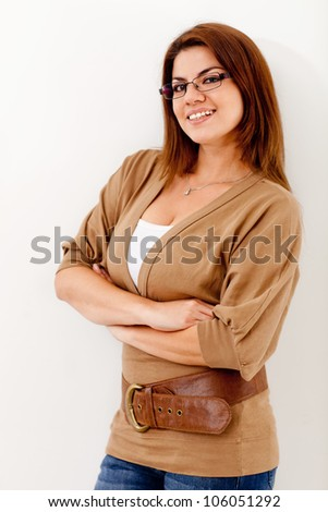 Beautiful casual woman smiling - isolated over a white background - stock photo