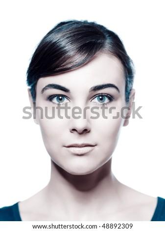 beautiful caucasian brunette woman portrait studio white background - stock photo