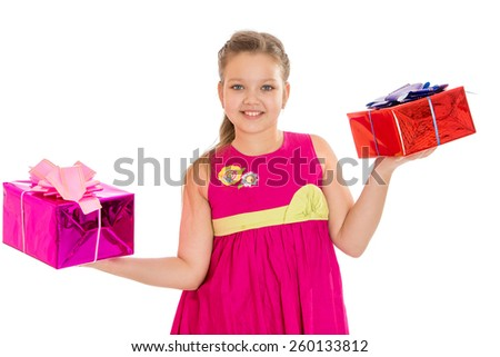 beautiful caucasian girl holding a beautifully packaged gifts - isolated on white. - stock photo