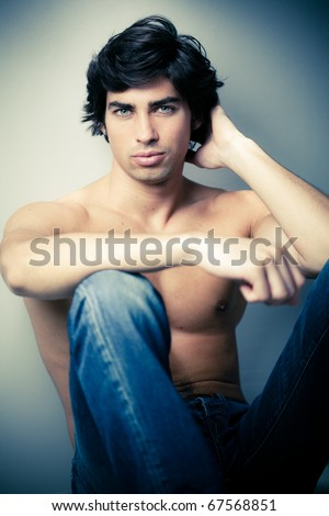 beautiful caucasian man - stock photo