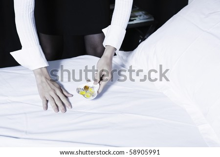 beautiful caucasian woman chambermaid in a hotel bedroom - stock photo