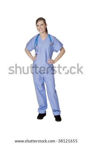 Beautiful Caucasian woman doctor or nurse isolated on a white background - stock photo