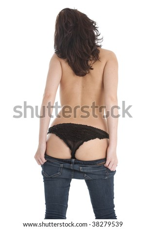 Beautiful Caucasian woman in blue jeans and frilly black panties - stock photo