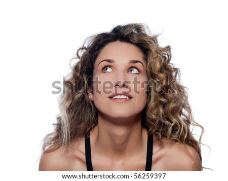 beautiful caucasian woman looking up happy portrait isolated studio on white background