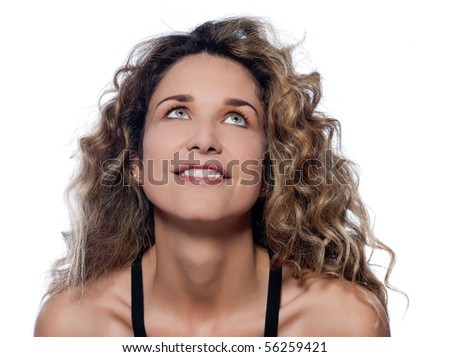 beautiful caucasian woman looking up  portrait isolated studio on white background