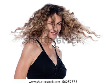 beautiful caucasian woman portrait isolated studio on white background - stock photo