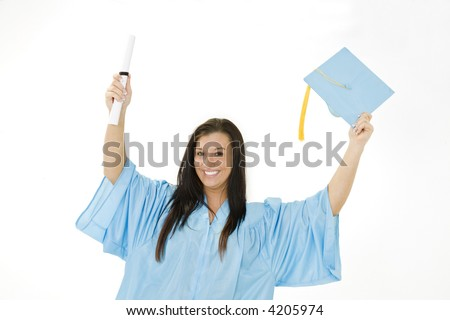 Beautiful Caucasian woman wearing a blue graduation gown holding a diploma and very happy and excited isolated on a white background