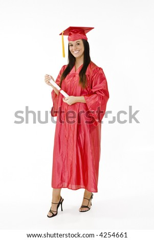 Beautiful Caucasian woman wearing a red graduation gown stand on a white background and holding a diploma isolated on a white background