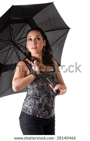 Beautiful caucasian woman with umbrella looking up, isolated - stock photo