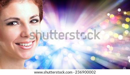 Beautiful caucasian Women over abstract Christmas background - stock photo
