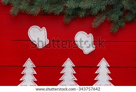 Beautiful celebratory Christmas background. New Year's holidays. Christmas holidays. Beautiful Christmas decorations on the wooden background - stock photo